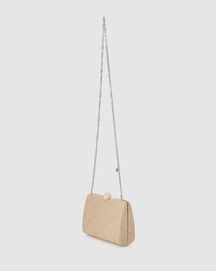 Olga Berg Cece Straw Weave Box Bag - Clutches (Natural)