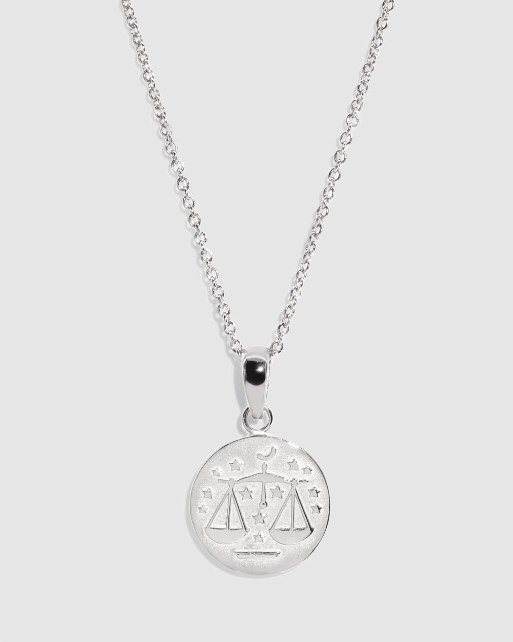 Molten Store The Silver Libra Zodiac Pendant Necklace Jewellery Silver