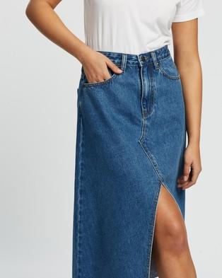 Atmos&Here Miami Split Front Denim Skirt - Denim skirts (Mid Blue)