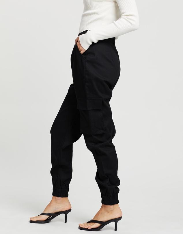 Women Petite Plain Cargo Trousers