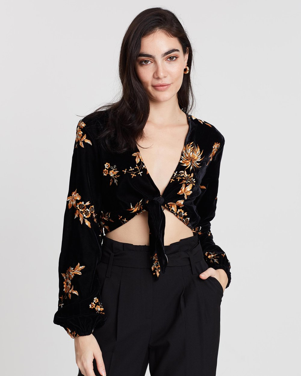 5e8c5d1286e35a Embroidered Velvet Tie Front Blouse by Miss Selfridge Online | THE ICONIC |  Australia