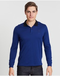 Kent and Curwen - Contrast Collar Long Sleeve Polo
