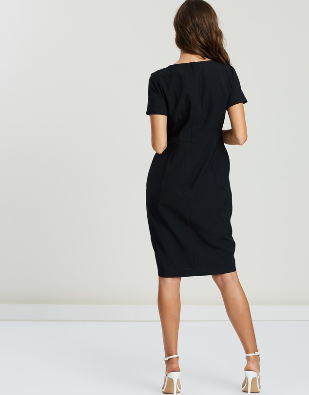 DP Petite - V-Neck SS Wrap Waist Dress