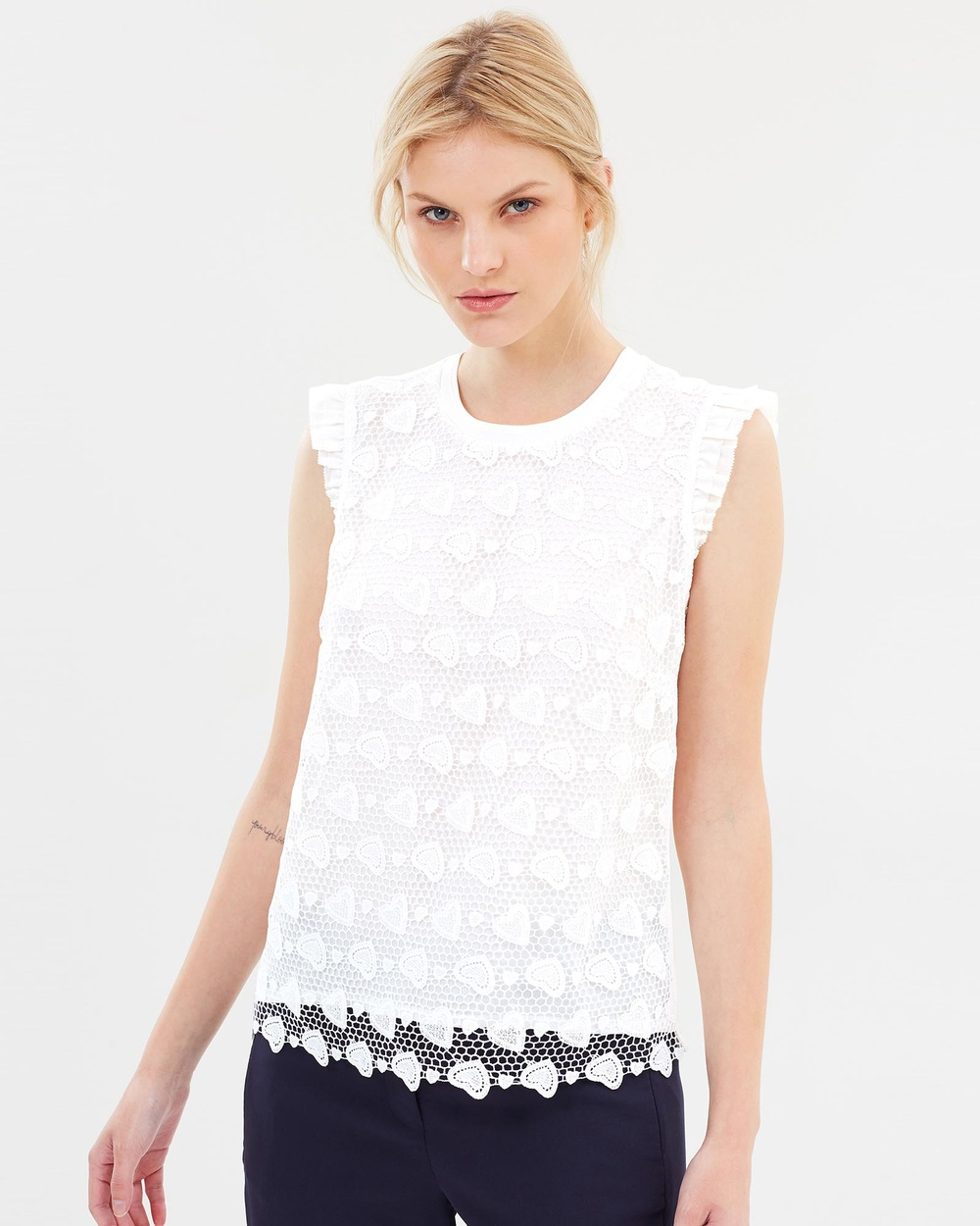 Marcs Woven Hearts Lace Top Tops Ivory Woven Hearts Lace Top