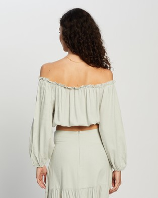 Atmos&Here Kinslee Off Shoulder Top - Cropped tops (Mint)