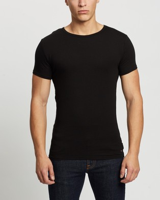 Tommy Hilfiger - 3 Pack Stretch Crew Neck SS Tees - T-Shirts & Singlets (Black, Summit Blue & White) 3-Pack Stretch Crew Neck SS Tees