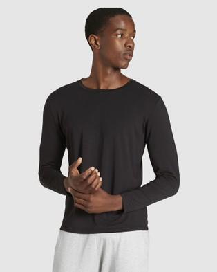 Boody Organic Bamboo Eco Wear - 2 Pack Long Sleeve Crew Neck T Shirt - Long Sleeve T-Shirts (Black) 2 Pack Long Sleeve Crew Neck T-Shirt