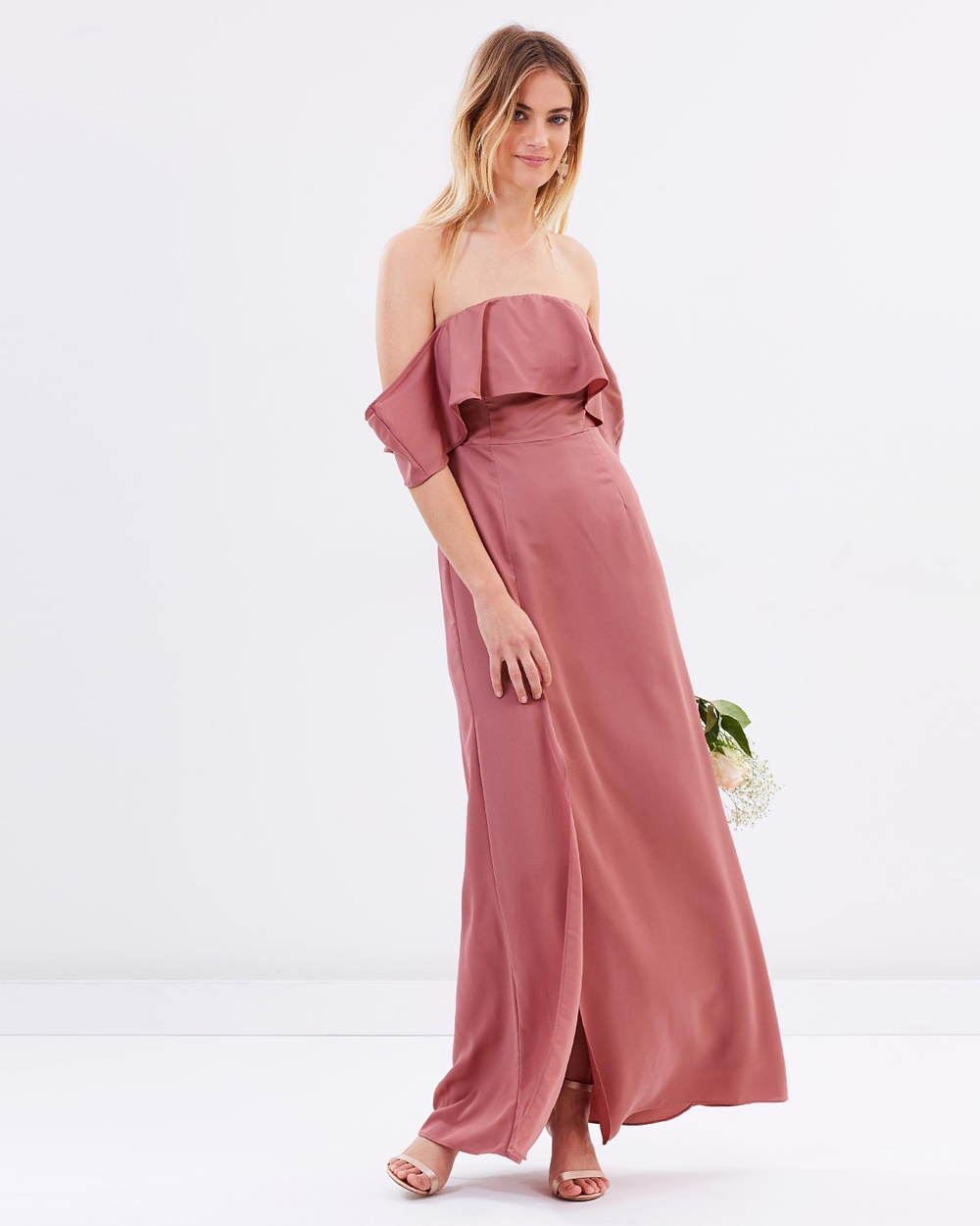 Atmos & Here ICONIC EXCLUSIVE Aurora Off Shoulder Maxi Dress Bridesmaid Dresses Rose Dust ICONIC EXCLUSIVE Aurora Off Shoulder Maxi Dress