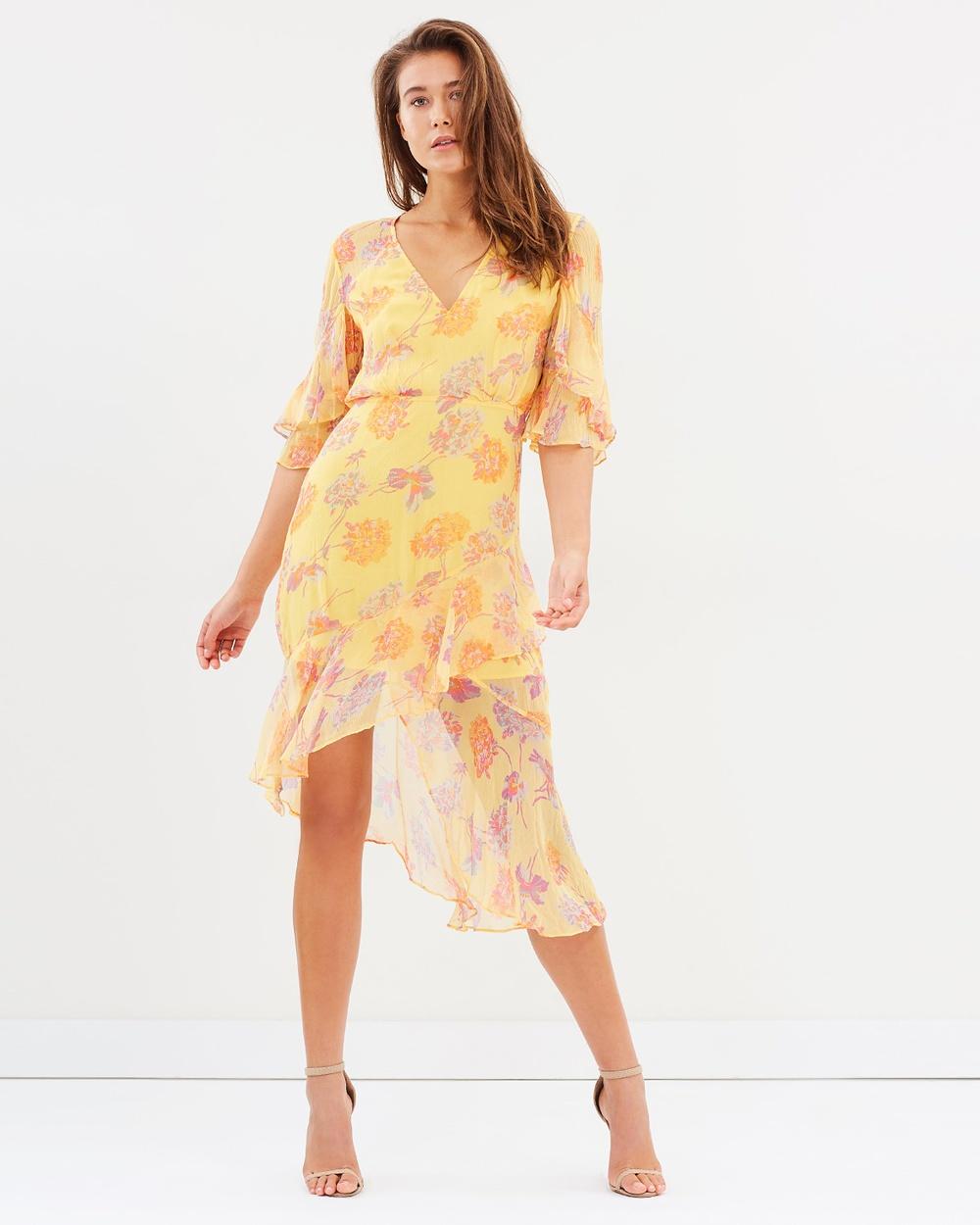 Talulah Cerulean Midi Dress Printed Dresses Yellow Vintage Floral Cerulean Midi Dress