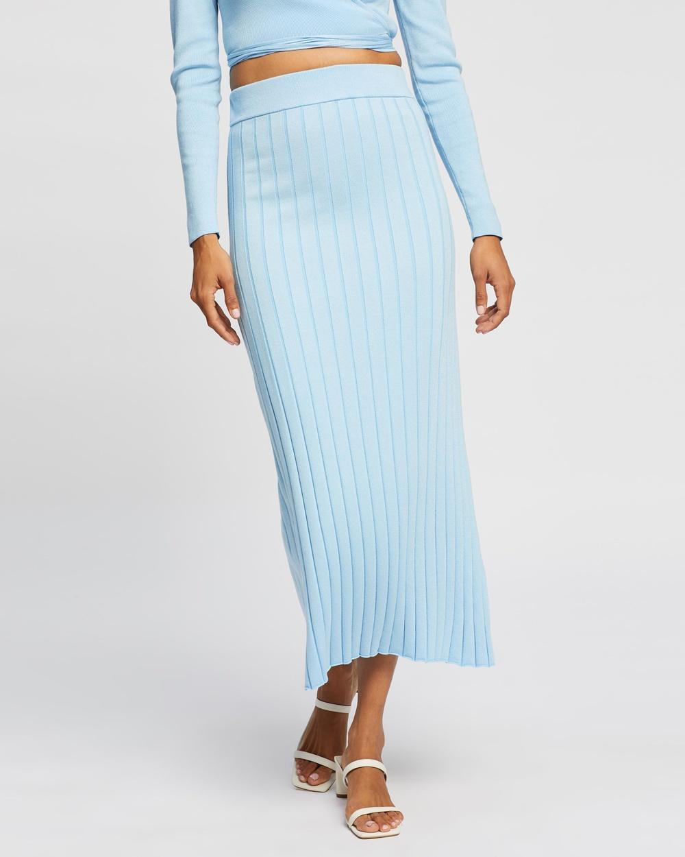 AERE Knit Skirt Pleated skirts Blue