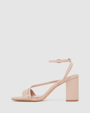 Forever New Nelly Asymmetric Mid Block Heels - Heels (Nude)