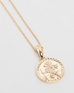 Chained & Able St Christopher Mini Medallion Necklace - Jewellery (Gold)