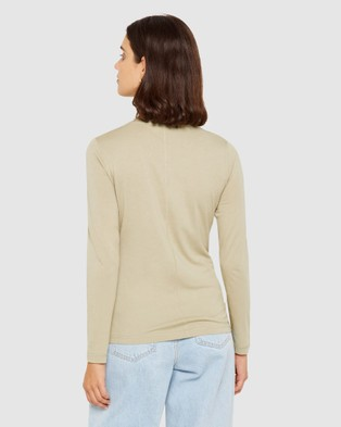 Jag - Katie Long Sleeve Crew Neck Tee - T-Shirts & Singlets (Avocado) Katie Long Sleeve Crew Neck Tee