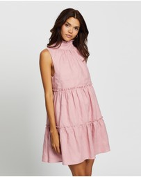 AERE - Frill Tiered Linen Mini Dress
