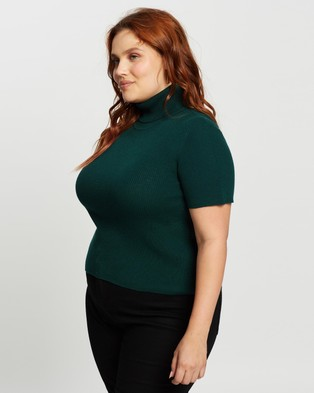 Atmos&Here Curvy Leela Short Sleeve Knit Top - Tops (Forest Green)