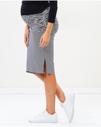 Angel Maternity - Reversible Maternity Pencil Skirt in Stripes