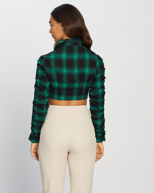 Missguided Ruched Detail Check Shirt - Cropped tops (Green)