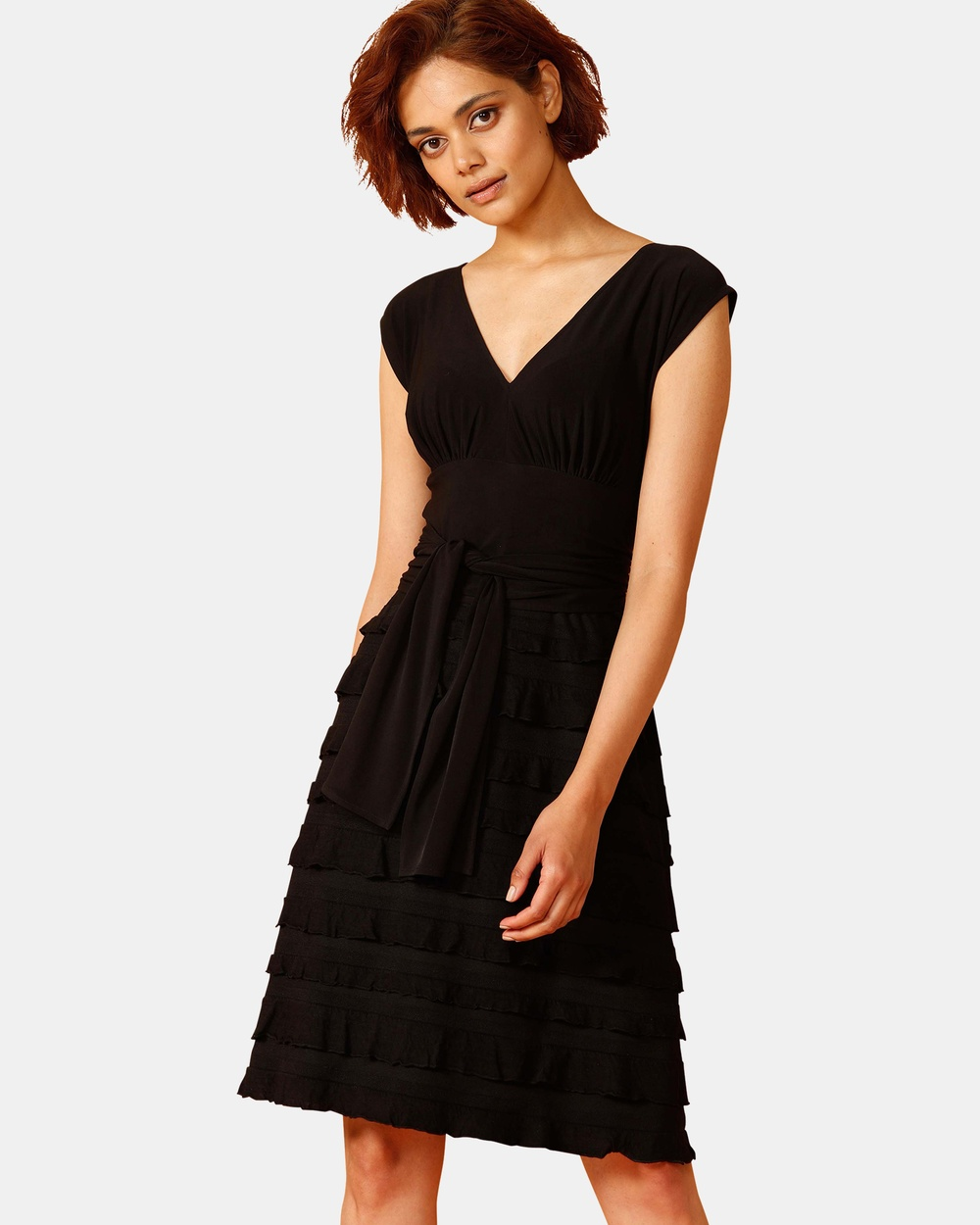 SACHA DRAKE Black V-Neck Ruffle Dress