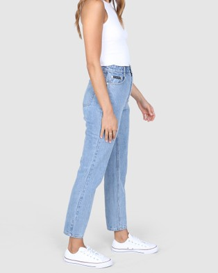 BY.DYLN Harlow Mom Jeans - Mom Jeans (Blue)