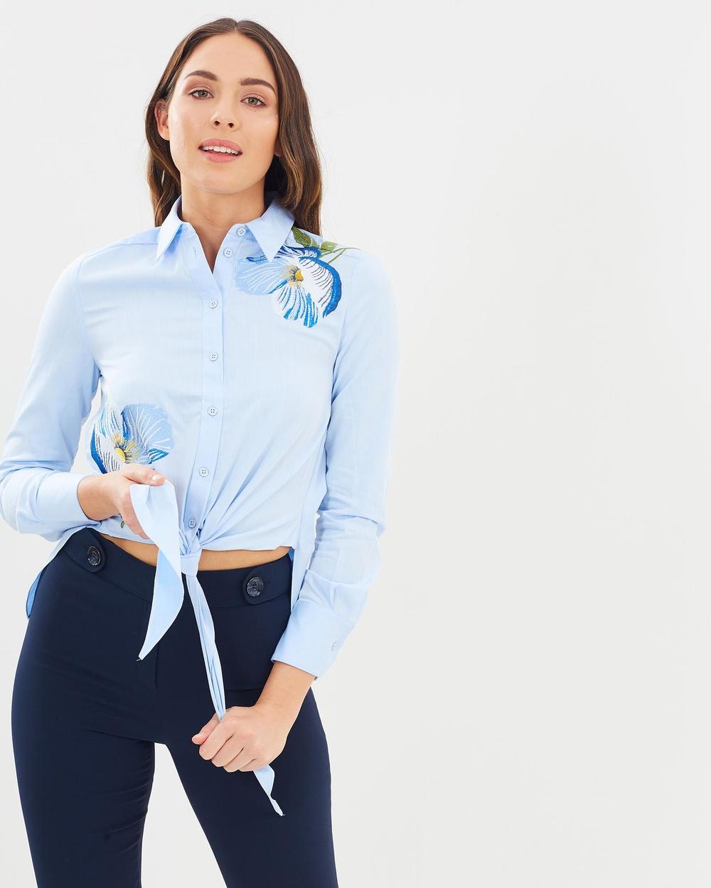 Karen Millen Floral Embroidered Shirt Tops Blue & Multi  Floral Embroidered Shirt