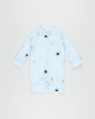 Cotton On Baby Cameron Long Sleeve Swimsuit   Babies - Rash Suits (Frosty Blue & Sunrays)