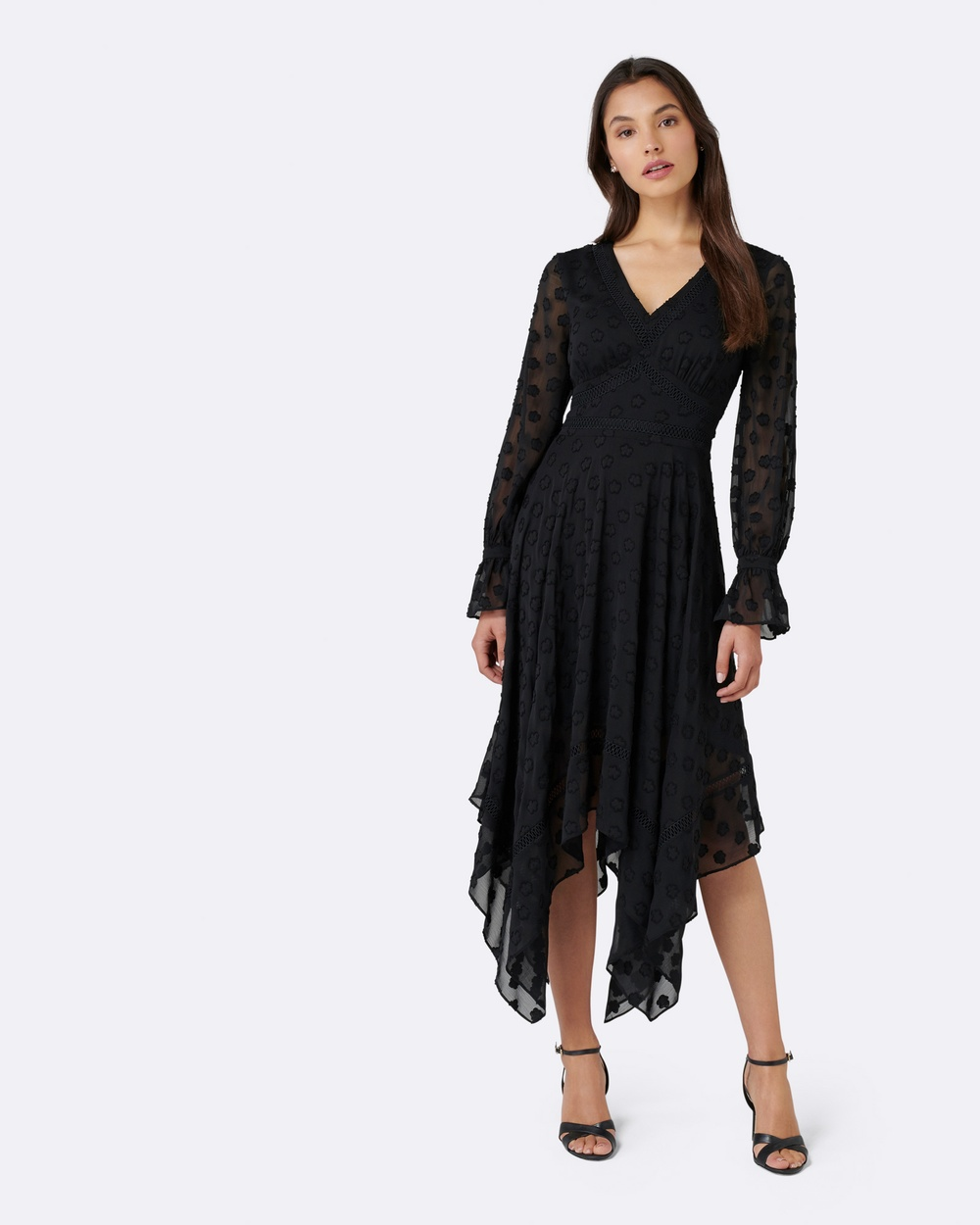 Forever New Misha Asymmetric Dobby Dress Dresses Black Misha Asymmetric Dobby Dress