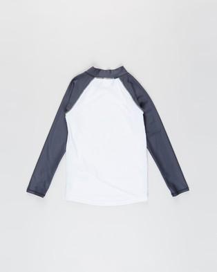 Cotton On Kids - Flynn Long Sleeve Raglan Rash Vest Teens Swimwear (Wave & White) Kids-Teens
