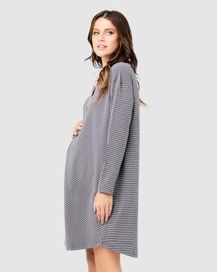 Ripe Maternity Blake Organic Nightie - Sleepwear (Gunship/White)