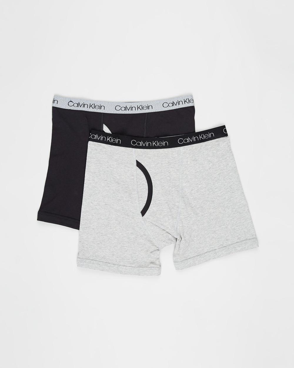 Calvin Klein Teen 2 Pack Cotton Stretch Boxer Briefs Heather Grey & Black 2-Pack