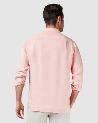 Australia Blazer Cooper Long Sleeve Linen Plain Shirt - Shirts & Polos (Pink)