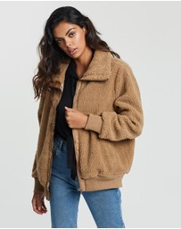 Cotton On - Teddy Zip-Through Bomber Jacket