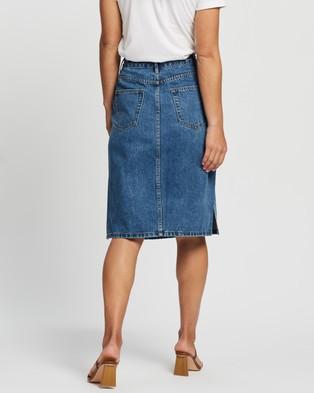 Atmos&Here Venice Split Side Skirt - Denim skirts (Mid Blue)