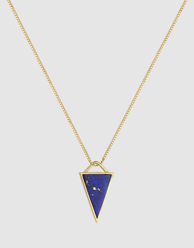 Women Necklace Lapis Lazuli Triangle Gemstone in 925 Sterling Silver Gold Plated
