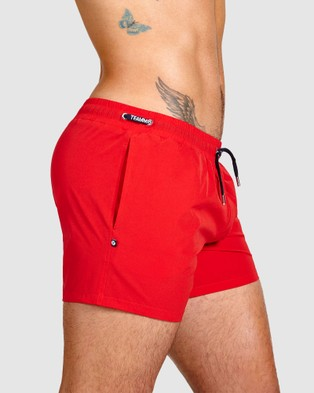 TEAMM8 Grid Swim Shorts - Swimwear (Red)
