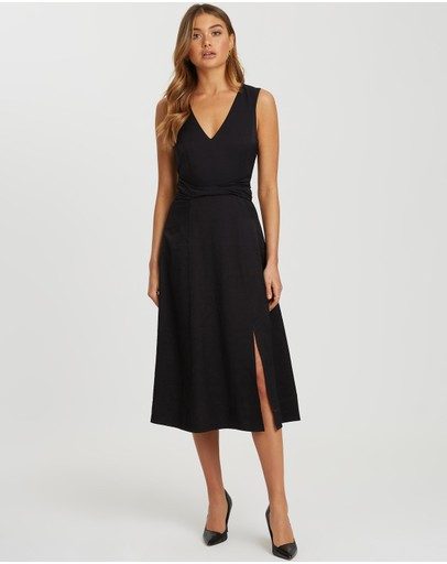 Willa - Iris Twist Belt Midi Dress