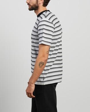 Afends - Taj Stripe Retro Fit Tee - T-Shirts & Singlets (Grey Marle) Taj Stripe Retro Fit Tee
