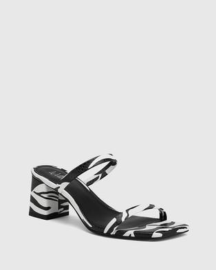 Wittner Kourtney Snake Leather Block Heel Sandals Black