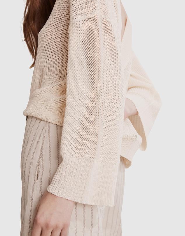 Women Mesh V-neck Knit