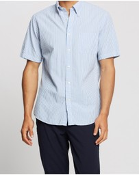 BROOKS BROTHERS - Regent Fit Seersucker Stripe Short Sleeve Sport Shirt