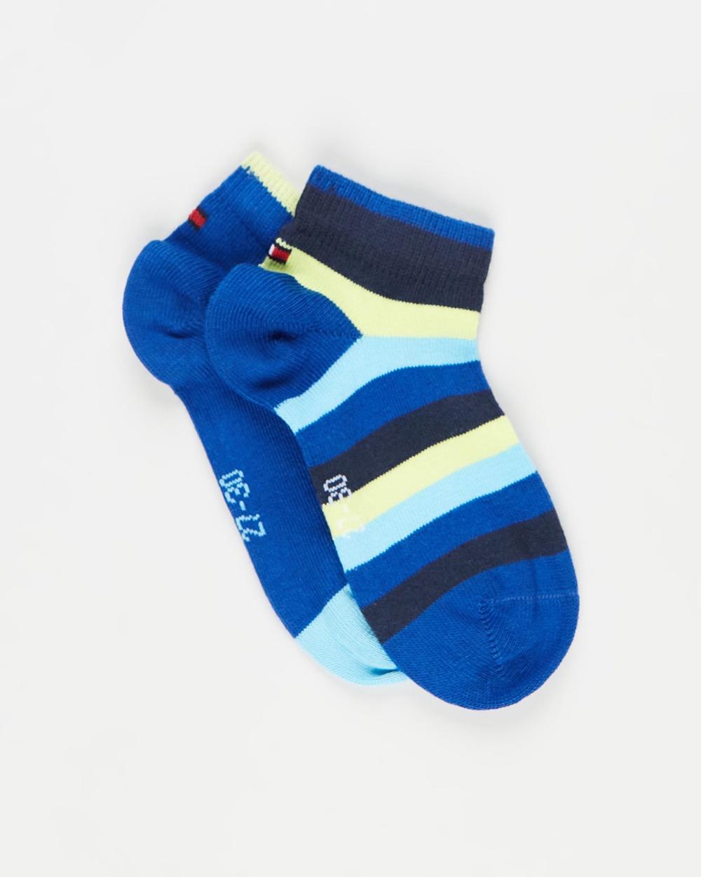 Tommy Hilfiger Quarter Cut Basic Stripe Socks 2 Pack Kids Ankle Blue Combo 2-Pack