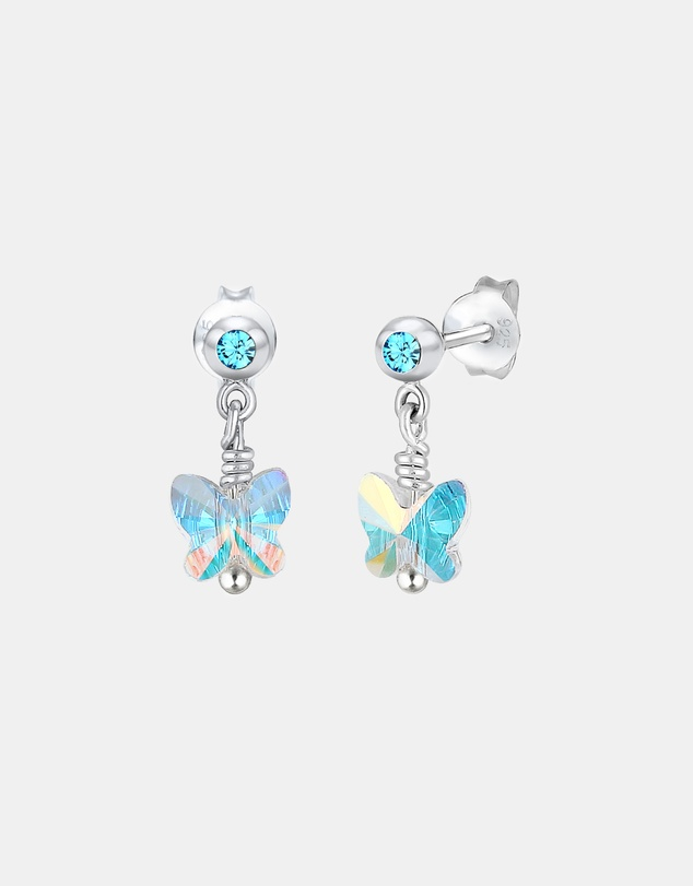 Elli Jewelry - Kids -  Earrings Kids Butterfly Swarovski® Crystals Light Blue 925 Sterling Silver