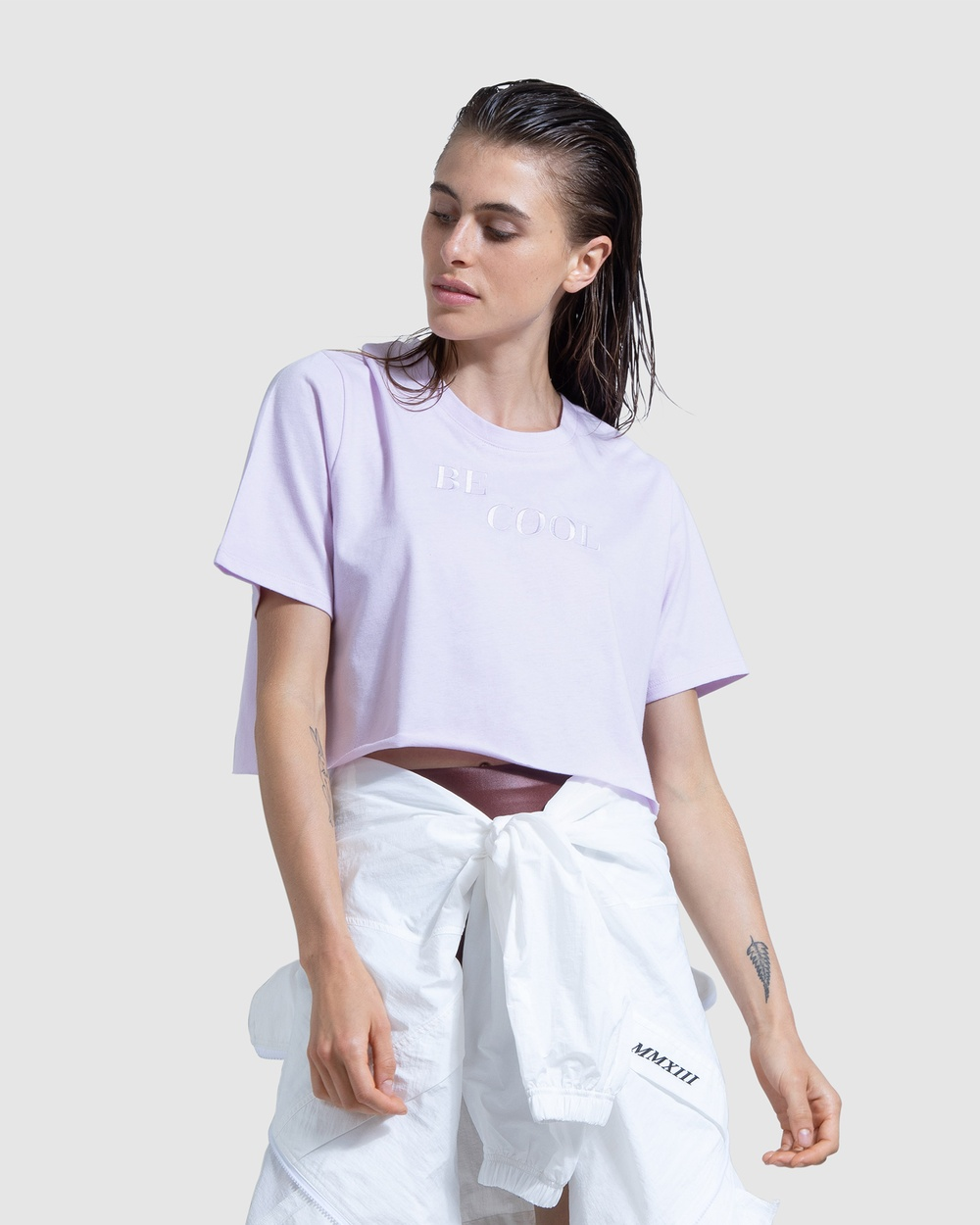 First Base - Be Cool Cropped Tee - Short Sleeve T-Shirts (Purple) Be Cool Cropped Tee