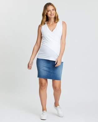 Angel Maternity High Waist Denim Skirt High-Waisted Blue High-Waist