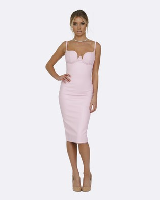 Honey Couture – Vixen Baby Pink Vegan Leather Body Con Dress – Bodycon Dresses Pink