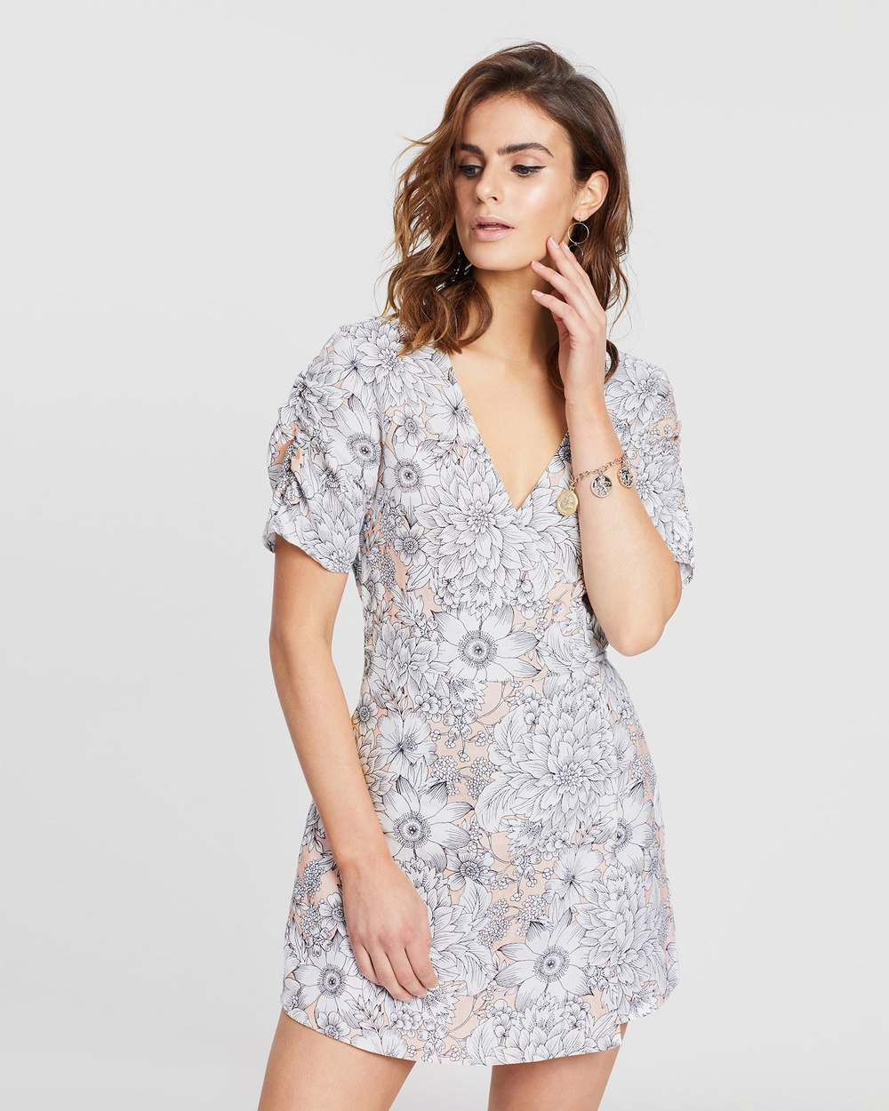 White By FTL Floral Sketch Aria Dress