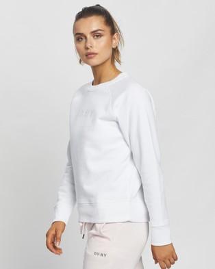 DKNY - Rhinestone Logo Sweatshirt Crew Necks (White)