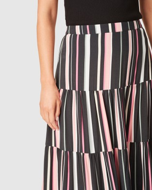 French Connection Rainbow Stripe Tiered Skirt - Skirts (BLACK/RAINBOW)