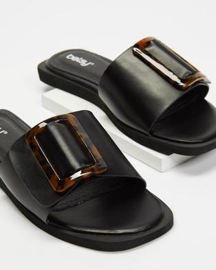 Betsy Buckle Slides Sandals Black