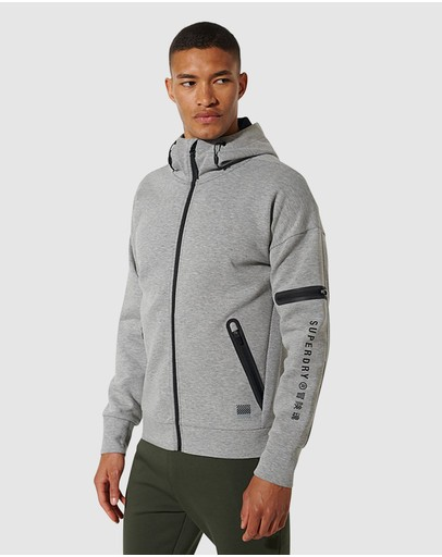 Superdry Sport Training Gymtech Zip Hoodie Grey Marle