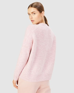 French Connection - Stitch Detail Crew Neck Knit - Jumpers & Cardigans (DUSTY PINK) Stitch Detail Crew Neck Knit